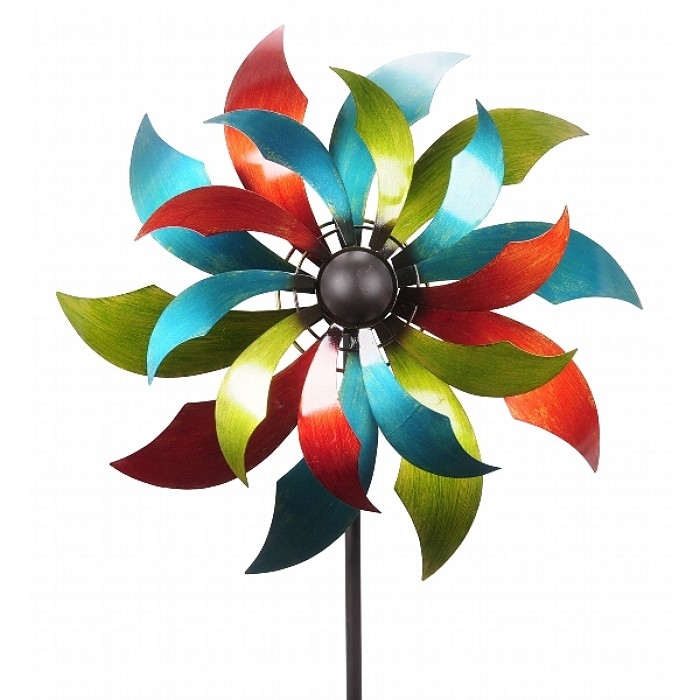 XXL MEGA Windrad Windspiel LATINA Metall 230 cm Ø 68,5 cm coloriert