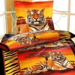 TIGER SAVANNE rot orange schwarz Bettwäsche Mikrofaser 135x200 cm